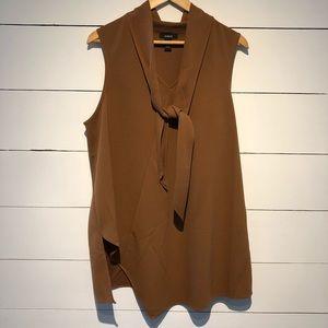 Brown Tie Neck Sleeveless Asymmetrical Blouse